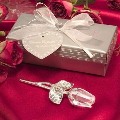 Choice Clear Crystal Long Stem Rose Ornament - Gift Boxed