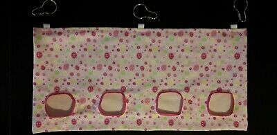 Fabric Hay feeder bag pink buttons XL - guinea pig, bunny