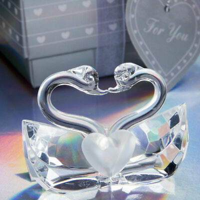 Choice Clear Crystal Ornament Collection Kissing Swans - Gift Boxed