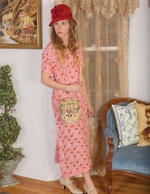 Victorian Trading Co April Cornell Rosebuds Pink Dress M