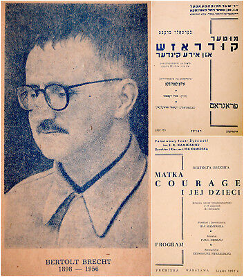 1957 Warsaw YIDDISH Polish BRECHT THEATRE PROGRAM Kaminska MOTHER COURAGE Jewish