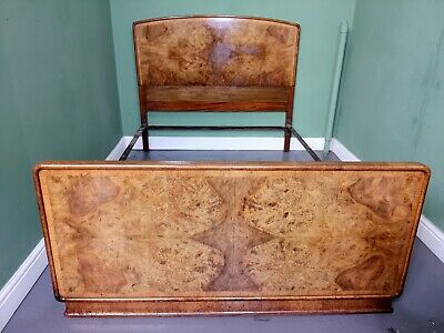 An Antique Art Deco Burr Walnut Double Bed ~Delivery Available~