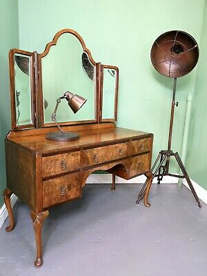 An Antique 20th Century Burr Walnut Dressing Table ~Delivery Available~