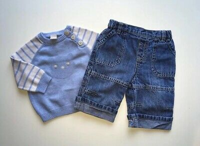 Baby Boys Next & Tu Jumper And Blue Jeans Outfit, Age 0-3 Mths, Vgc