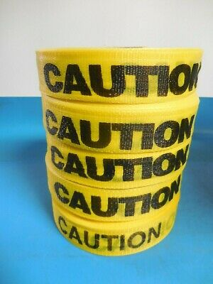 "Woven Yellow / Black Caution Tape 2"" x 200' (Lot of 5)"