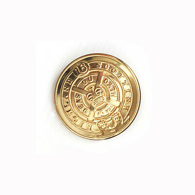 SCOTTISH HIGHLANDS 16 Infantry Battlion Button Shiny Brass Metal 7/8 in 22mm
