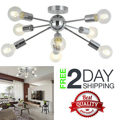 Modern Vintage Sputnik Chandelier Chrome Semi Flush Mount Ceiling Light Antique
