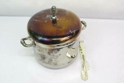 Silver Plated Pineapple Top Lined Ice Bucket International Silver Co. With Tongs