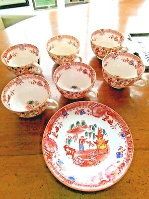 Antique Chinese hand painted set of 6 cups & saucers