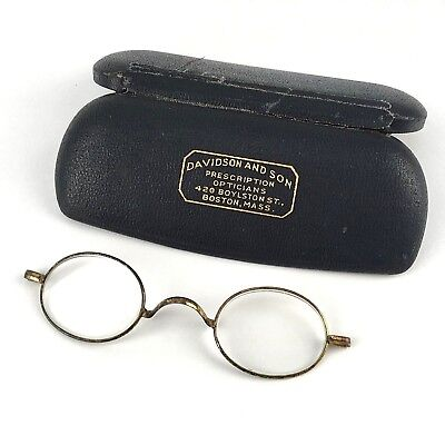 Antique Late 1800s Early 1900s Small Oval Wire Frame Eye Glasses Case Steampunk