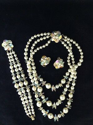 """Vintage """"very rare"""" SHERMAN signed high-end necklace, bracelet and earrings set"""