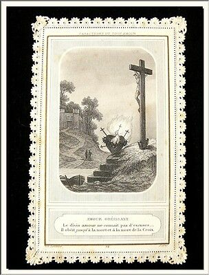 """ANTIQUE 1880's FRENCH """" CHARACTER of LOVE DIVINE """" CANIVET LACE HOLY CARD !!!"""