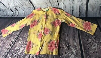 Bennetton Girls Sweater Yellow Roses Summer Cardigan 18/24 Mos Beautiful