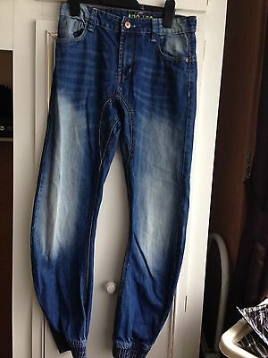 Primark Boys Bowed Leg Blue Jeans 12-13 With Elasticated Ankles
