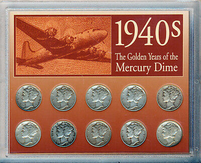 1940's The Golden Years Of The Mercury Dime **10 Silver Dimes In Plastic Holder*