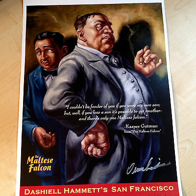 """LARGE OWEN SMITH-MALTESE FALCON-POSTER/GLOSS PRINT LOVELY 18"""" x 12"""" 2008 SIGNED"""