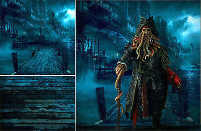 POSTER BACKDROP SHIPS Rolled~Pirates Caribbean~Wharf For 1/6 Figure Jack  Sparrow