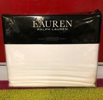 510f863e RALPH LAUREN SPENCER Border SATEEN White WHEAT Full QUEEN DUVET Sham ...