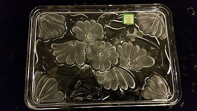Marquis By Waterford Crystal Frosted Flowers Vanity Tray Plate Platter
