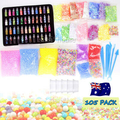 105Pcs DIY Slime Making Supplies Tool Kit Beads Charms Kids Craft Toy OZ Stock