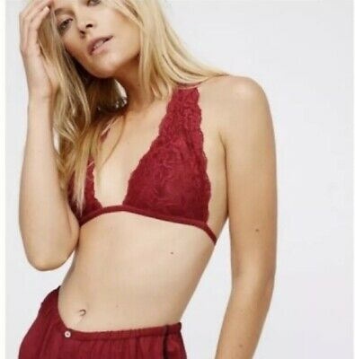 cbe543e3ef NWT Free People Truly Madly Deeply Lace Halter T-Strap Bralette Size Small