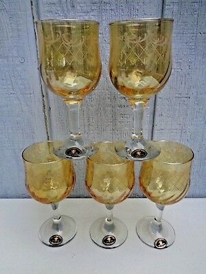 NEW 5 CRISTALLERIA Fratelli FUMO Hand Made IN ITALY Wine Glass Vintage