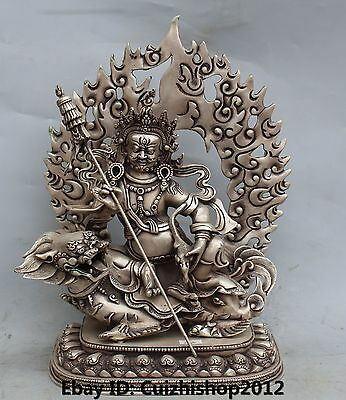 "14""Tibet Buddhism Silver Wealth God Yellow Jambhala Buddha On Tiger Lion Statue"