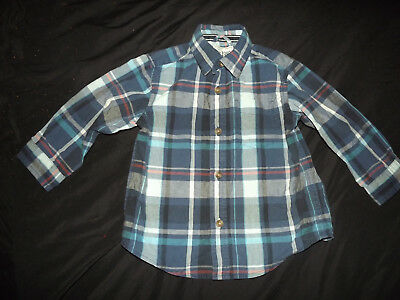 The Childrens Place Log Sleeve Plaid Shirt Size 18 - 24 Months Euc