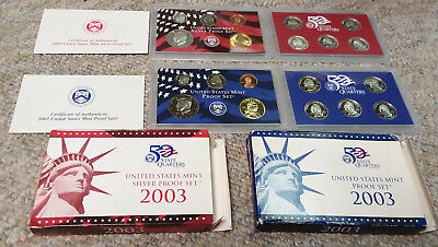 2003-S BOTH US Mint 10 Coin SILVER PROOF+CLAD Sets w/COA ATB Quarters FREE SHIP!