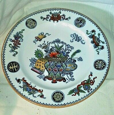 Antique Wedgwood Etruria England Basket Blue Multicolor Luncheon Plate Flower #2