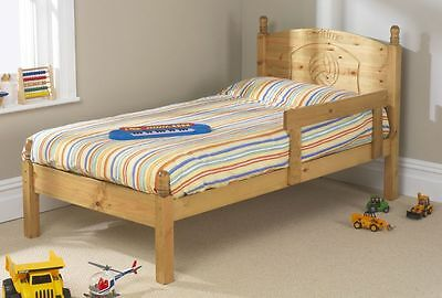 Solid Antique Pine 3Ft Football Bed Frame Only Includes Guard Rail
