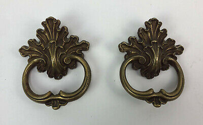 antique FRENCH BRASS DRAWER PULLS pair C.1900