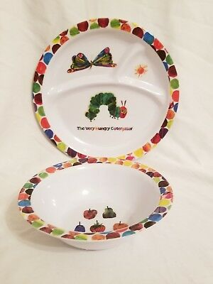 The Very Hungry Caterpillar 2pc child feeding set plate & bowl melamine
