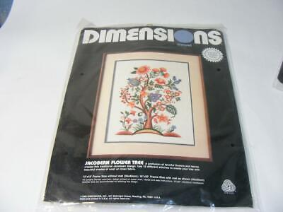 New 1989 Dimensions Crewel #1368 Jacobean Flower Tree Factory Sealed