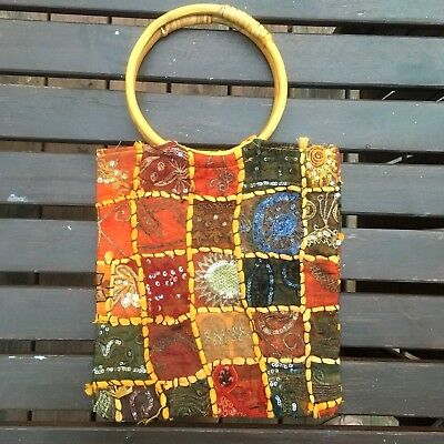 Womens Bamboo Handle Multi Colored Sectional Beaded Purse