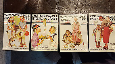 4 Piece Norman Rockwell Saturday Evening Post Prints Chicago Lithograph