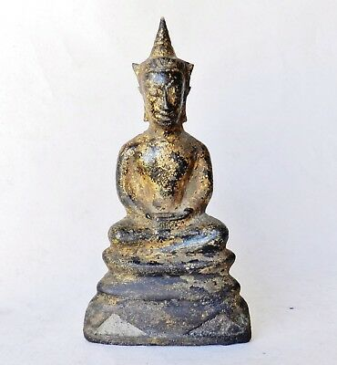 Very Old Gilt Bronze Sino-Tibetan Thai Buddha Statue Chinese Antique Ming