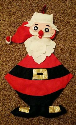 Vintage Felt Santa Claus Christmas Card Holder Wall Hanging