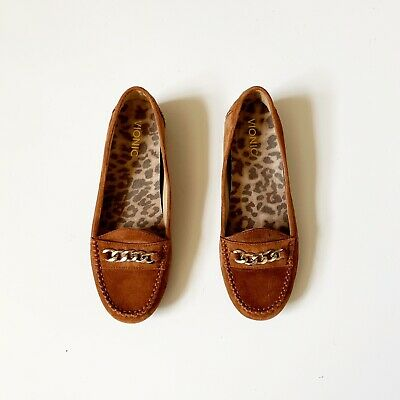957c83d26eb Vionic Womens Sz 8 Mesa Loafers Moccasins Suede Cognac Brown Chain Comfort  Work