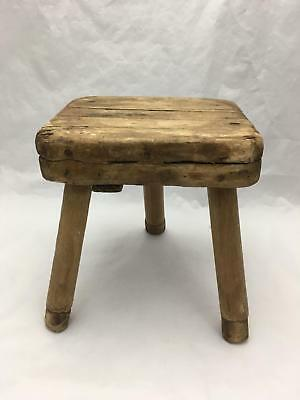 Antique Primitive Wood Milking Stool Three Legged 3 Legs Farm, Barn Gem