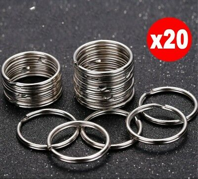 20 Steel Split Key Rings 25mm Nickel Hoop Ring Nickel Plated Steel Loop d6