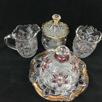 EAPG Table Set - Ruby Stain w/Gold - US Glass Co #15141 Flower With Cane ca 1912