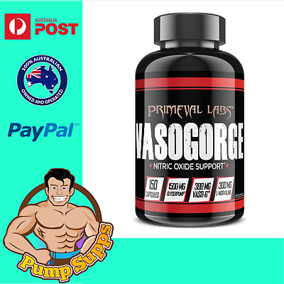 Primeval Labs Vasogorge Black 150 Caps Nitric Oxide Pump Pre Workout Pumps Vaso