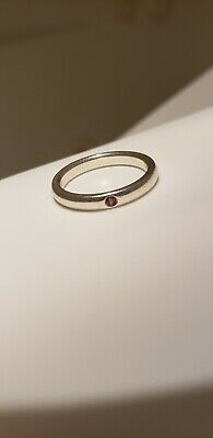 f4d1931dc Tiffany & Co Sterling Silver Band Ring Pink Sapphire Elsa Peretti Size 5
