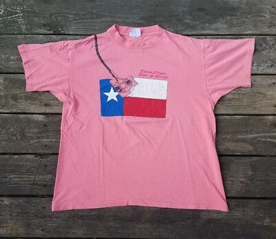 VTG 90s Lone Star Beer Bar & Grill Fueled Flag Double Sided Graphic T Shirt XL