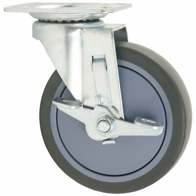 TPR Rubber Caster Wheel With Swiveling Top Plate W/ Brake - 5-Inch 350 Lb. Load
