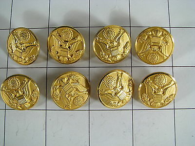 """Lot of 8 US Army Uniform 7/8"""" Waterbury Insignia Buttons"""