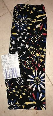 NEW LuLaRoe 2017 KIDS L/XL Americana Leggings Fireworks Floral