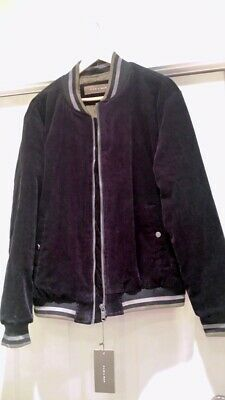 1a92d20f Zara Man Lost Islands Corduroy Bomber Black – Embroidered – Size XL – NWT