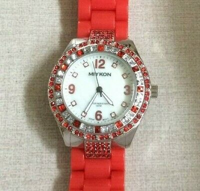 b7584961d Miykon Women's Watch Silver Crystal Gemmed Bezel White Dial on Red Linked  Band!